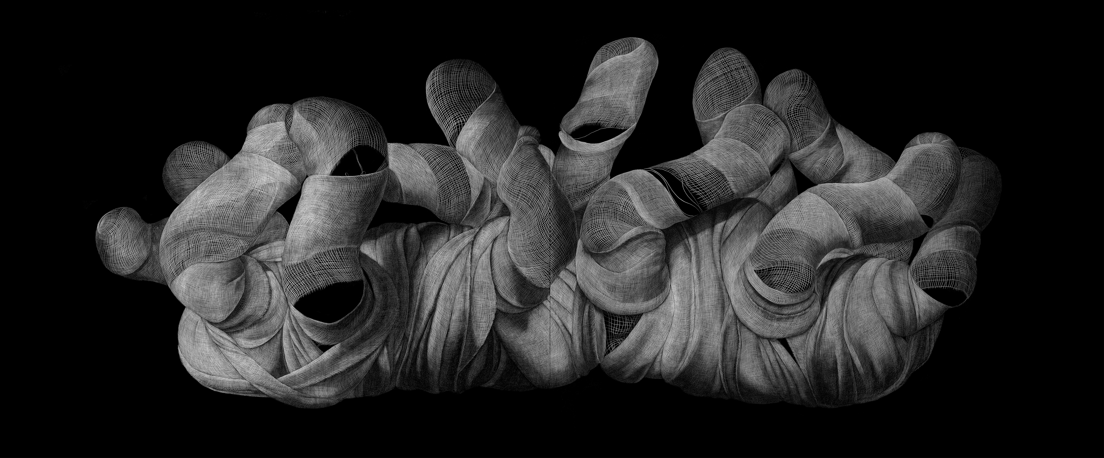 Engraved drawing on plastic vinyl 48 x 120 Inches / 121.92 x 304.8 cm (diptych) 2015